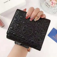 Tory Burch High Quality Fashionable Women Men Leather Three Folding Cowhide Purse Wallet Black