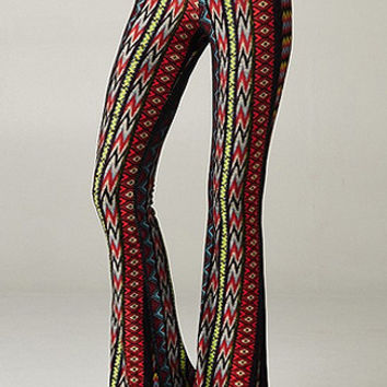 New Mexico Aztec Print Bell Bottom Pants