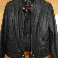 Guess Biker Ruffle Leather Jacket 50% off retail
