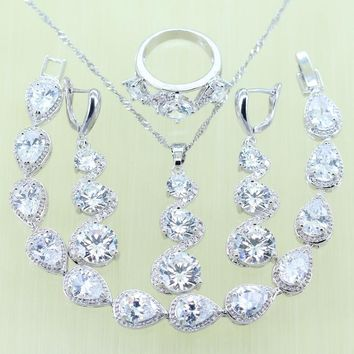 Reginababy Women White Crystal stone Jewelry Sets Silver Color Bracelets Drop Earrings Ring Necklace Pendant 925 stamp