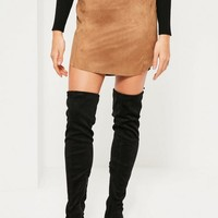 Missguided - Tan Faux Suede Curve Hem Mini Skirt