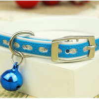 Small Dog Collar with Bell Puppy Cat  blue Collar Cute PU Leather Fabric