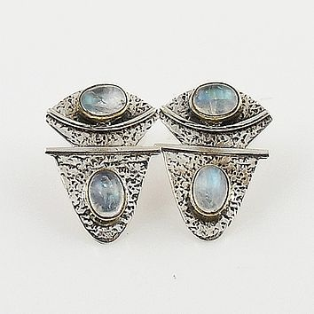 Moonstone Two Tone Sterling Silver Earrings - keja jewelry