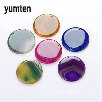 Yumten Agate Big Pendant Round Multicolor Slice Beads Long Necklace Geode Natural Gemstone Quartz Charms Jewerly Bag Gift