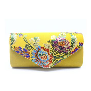 Luxury Embroidery Velvet Elegant Women Retro Clutch Bag Dinner Party Prom Bag Evening Bag Purse Lady Classic Chain Bag QL
