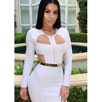 Tavi cut out bandage white dress