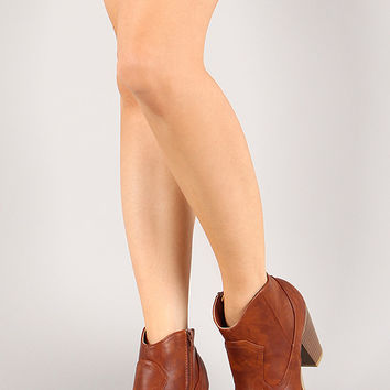 Bamboo Rebel-01 Almond Toe Cowboy Ankle Bootie