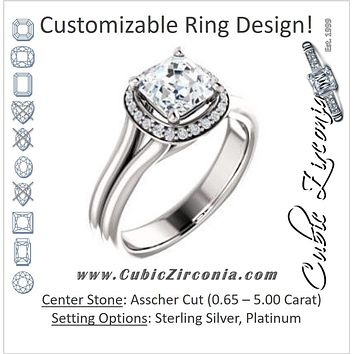 Cubic Zirconia Engagement Ring- The Elaine Li (Customizable Asscher Cut Style with Halo, Wide Split Band and Euro Shank)