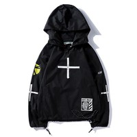 Offwhite Women Men Fashion Print Pattern Hooded Windbreaker Coat