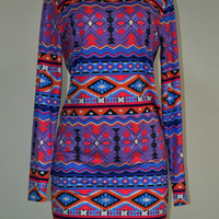 Blue Floral Trible African Print Round Neck Long Sleeve Aztec Boho Mini Dress