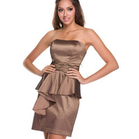 2014 Prom Dresses - Light Brown Taffeta Strapless Short Prom Dress