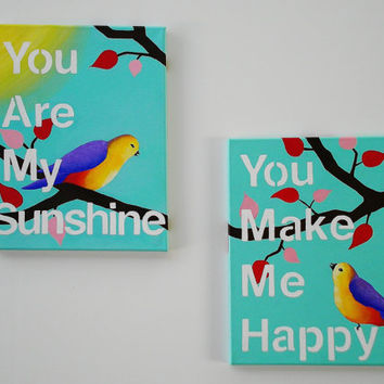 Bird painting, You Are My Sunshine 8 X 11, whimsical nursery art, home decor, acrylic painting