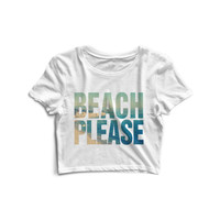Beach Please Vintage Print Crop Top