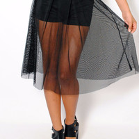 (amd) Sheer mesh knee length flare black skirt