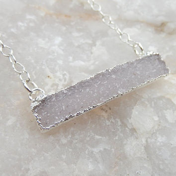 White Druzy Bar Silver Necklace Rectangle Horizontal Quartz Snow Drusy - Free Shipping OOAK Jewelry