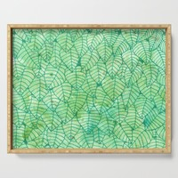Green foliage watercolor Serving Tray by savousepate