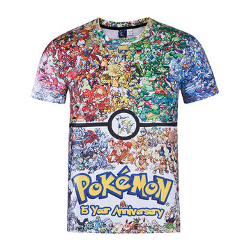 Pokemon Shirt for Women Men 3D Cartoon Animation T shirts Printed Tie Dye Tee Shirt Poleras Hombre