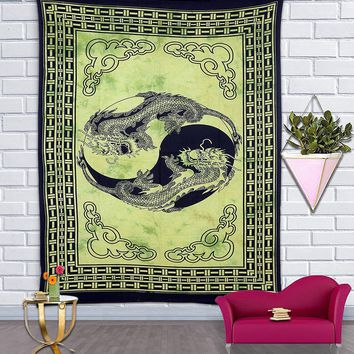 Green Chinese Dragon Bohemian Fabric Tapestry