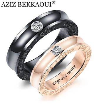 AZIZ BEKKAOUI Customized Named Couple Rings For Women Men Stainless Steel Fashion Ring for Men Female Lover Wedding Rings Gift