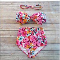 Bow Bikini High Waist Bikinis Push Up Bathing Suit