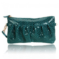2012 New Cow Leather Clutch Cosmetic Makeup Hand Bag Peacock Green - Default