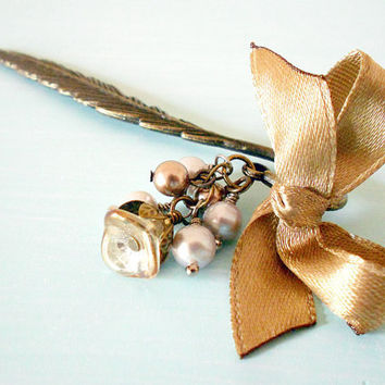 Romantic Shabby Chic Feather Bookmark in Antique Brass with Satin Ribbon Bow, Swarovski & Freshwater Pearls and Czech Glass Flower