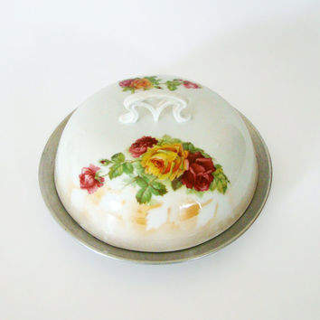 Vintage Butter Dish, Bone China, Aluminum and Glass, Cabbage Roses