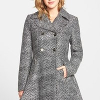 Women's Laundry by Shelli Segal Chevron Twill Double Breasted Skirted Coat ,