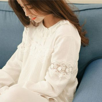 2016 new hanguochun hollow cotton long sleeved lace pajamas Home Furnishing suit 8668