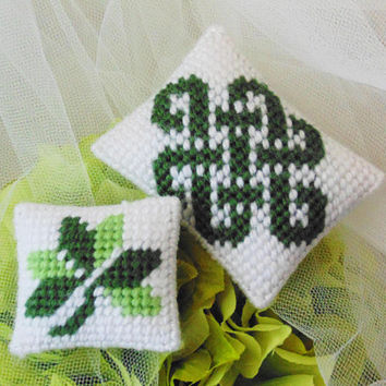 Celtic Spring Mini Cushions SET, Shamrock Needlepoint Pillows, Needle Art Mini Pincushions, Celtic Pincushion, Miniature Pillows