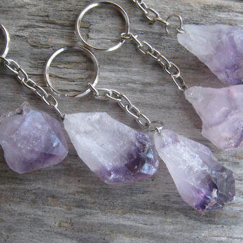 Raw Amethyst KeyChain, Amethyst Key Chain, Amethyst Crystal Point, Natural Quartz, Purple Mineral, Crown Chakra, Metaphysical