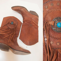 Brown Distressed Leather Zodiac Fringe Boots 7 6.5 | Womens Boho Western Vintage Cowboy Boots | Dreamcatcher Turquoise Stone Concho Detail
