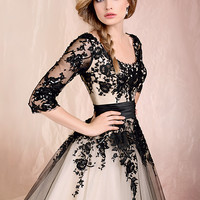 Black Lace Tulle Half Sleeve Prom Dresses Formal Tea Length A Line Party Dress vestido de festa Custom Size Z301
