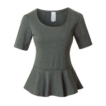 LE3NO Womens Fitted Scoop Neck Short Sleeve Peplum Top with Stretch (CLEARANCE)