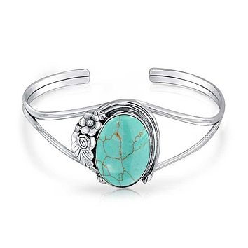 Navajo Style Oval Cabochon Turquoise Cuff Bracelet Sterling Silver