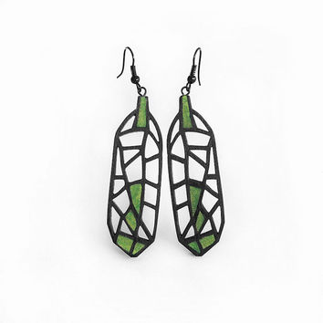 Limited edition earrings, contemporary, modern jewelry design, FREE shipping, handmade, laser cut wood, black steel, polymer clay