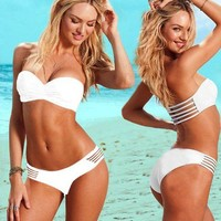 White Sexy Hollow Bikini Swimsuit