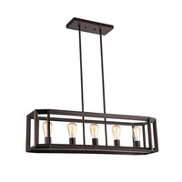 "Ironclad, Industrial-Style 5 Light Rubbed Bronze Ceiling Pendant 34"" Wide"