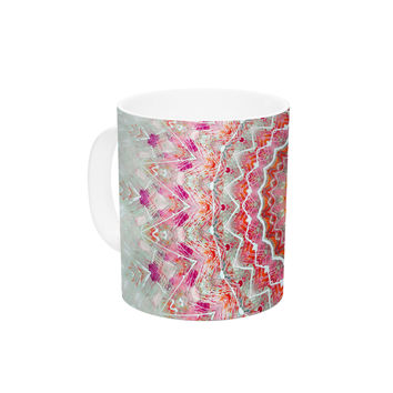 "Iris Lehnhardt ""Summer Lace III"" Circle Pink Green Ceramic Coffee Mug"
