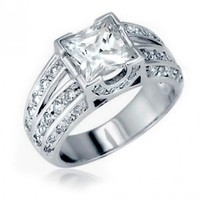 Christmas Gifts Sterling Silver Vintage Style CZ Double Shank Princess Cut Engagement Ring