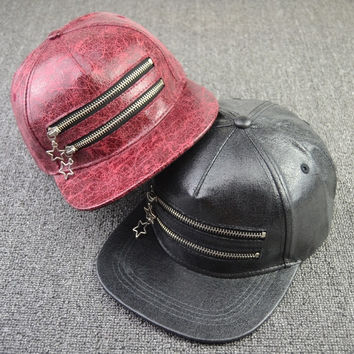 New Fashion Personality Zipper Design PU hat flat hat Street hip-hop cap casual Baseball Hat = 1905868676