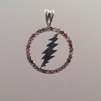 Grateful Dead ~ Sterling Silver Round 13 Point Bolt Pendant with Pink Tourmaline Gems