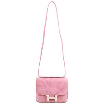 "Hermes Rose Indien Pink Veau Doblis Suede ""Mini Constance"" Shoulder Bag"