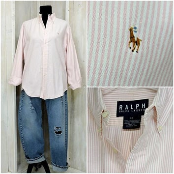 Womens vintage Ralph Lauren oxford shirt / 80s striped pink white button down cotton shirt / size M / L
