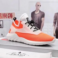Prada Men Fashion Boots fashionable Casual leather Breathable Sneakers Running Shoes Sneakers