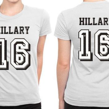 ESBH9S Hillary Clinton For President 2016 (5) B 2 Sided Womens T Shirt
