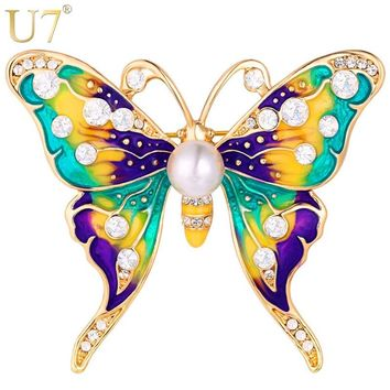 Butterfly Colorful Rhinestone Brooches