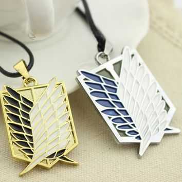 Cool Attack on Titan 10pcs/lot  Inspired Wings of dom Necklace Be dom Symbol Jewelry AT_90_11
