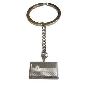 Silver Toned Etched Slovenia Flag Pendant Keychain