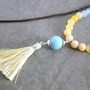 Long Beaded Tassel Necklace Fabric Tassel Sterling Brown Leather Necklace Amazonite Pendant Long Boho Necklace Blue and Yellow Jewelry